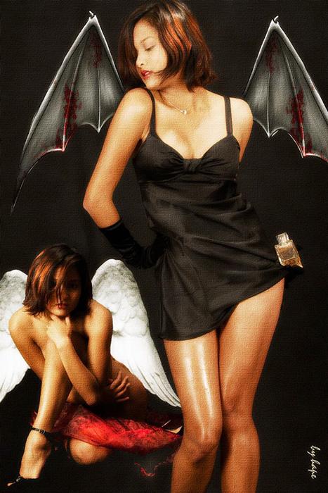 Engel und Teufel. Der schwarze und der weisse Engel.
