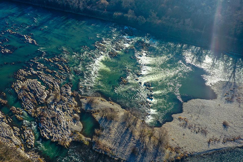 Drohnenaufnahme von den Isteiner  Schwellen