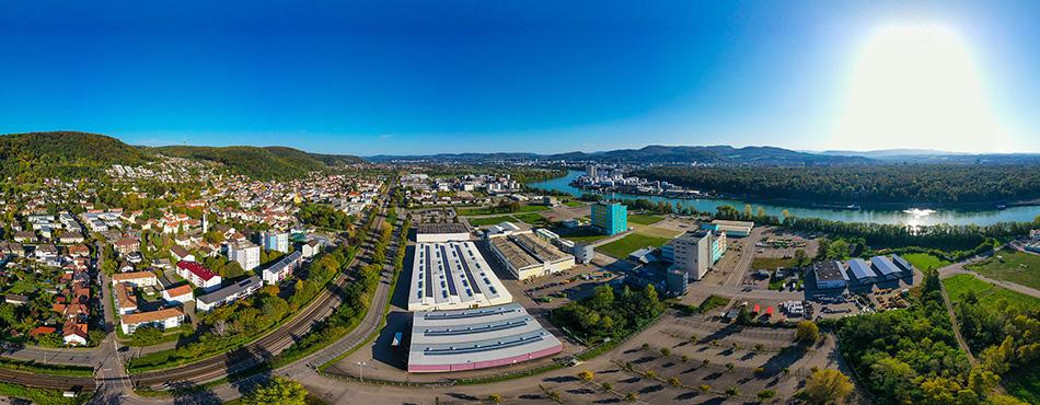 Panorama Grenzach mit Chemie Industrie