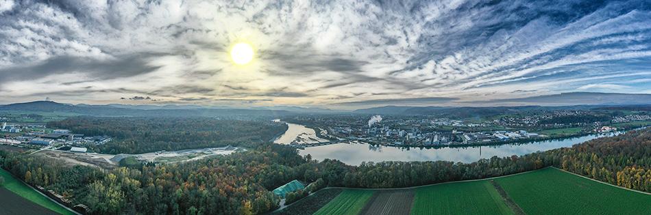 Panorama Rheinfelden Industrie, Ansicht von der Schweiz aus gesehen