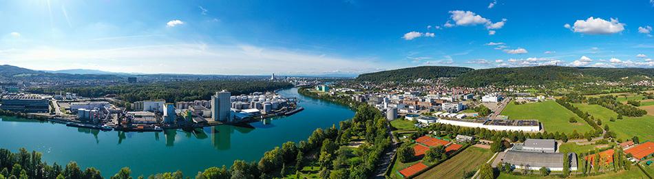 Panorama Grenzach, Birsfelder Hafen